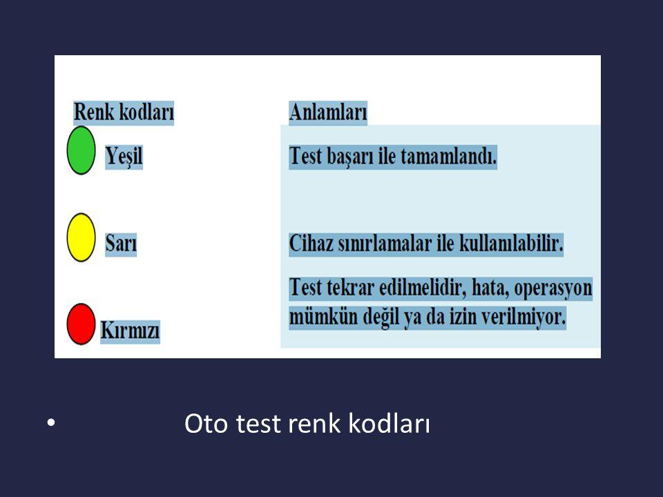Oto test renk kodları