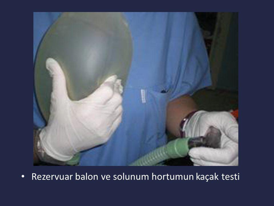 Rezervuar balon ve solunum hortumun kaçak testi