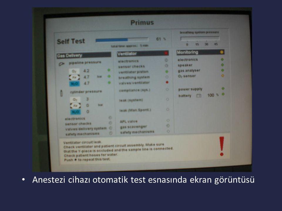 Anestezi cihazı otomatik test esnasında ekran görüntüsü