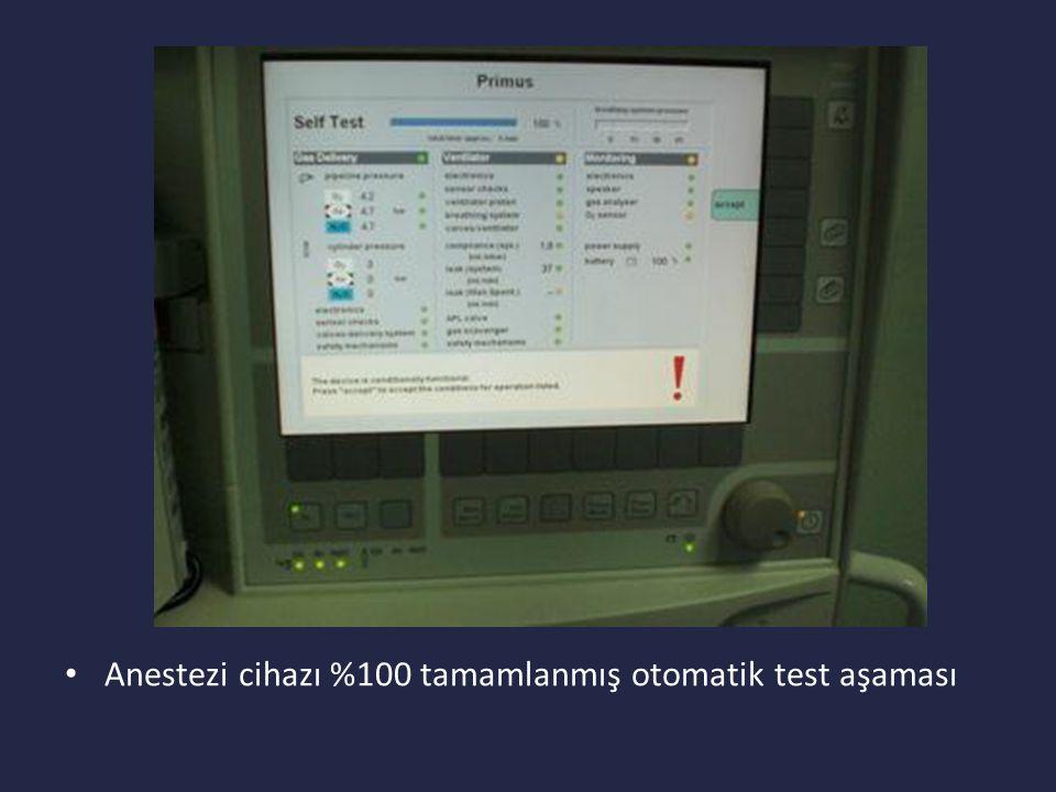 Anestezi cihazı %100 tamamlanmış otomatik test aşaması