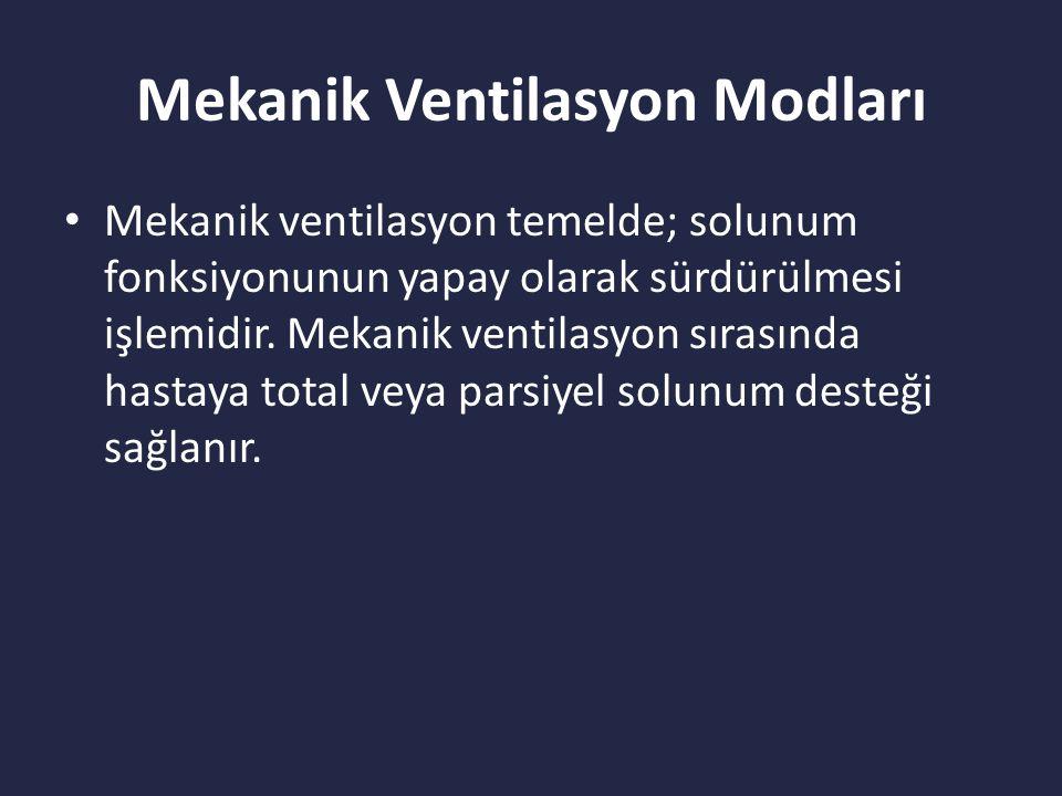Mekanik Ventilasyon Modları Mekanik ventilasyon temelde; solunum fonksiyonunun yapay olarak sürdürülmesi işlemidir.