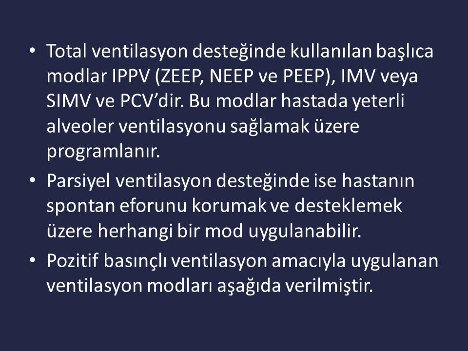 Total ventilasyon desteğinde kullanılan başlıca modlar IPPV (ZEEP, NEEP ve PEEP), IMV veya SIMV ve PCV'dir.