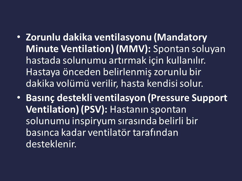 Zorunlu dakika ventilasyonu (Mandatory Minute Ventilation) (MMV): Spontan soluyan hastada solunumu artırmak için kullanılır.