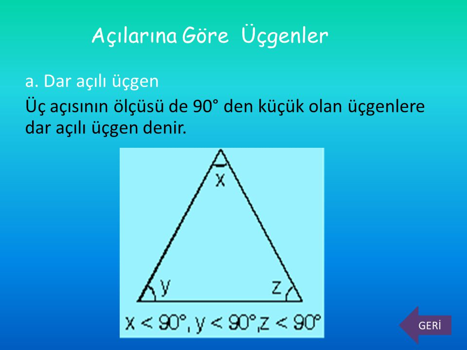 a. Dar açılı üçgen Üç açısının ölçüsü de 90° den küçük olan üçgenlere dar açılı üçgen denir. Açılarına Göre Üçgenler