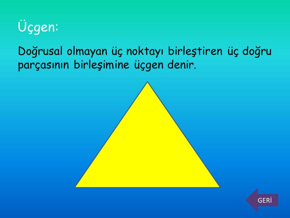 Burada; A, B, C noktaları üçgenin köşeleri, [AB], [AC], [BC] doğru parçaları üçgenin kenarlarıdır.