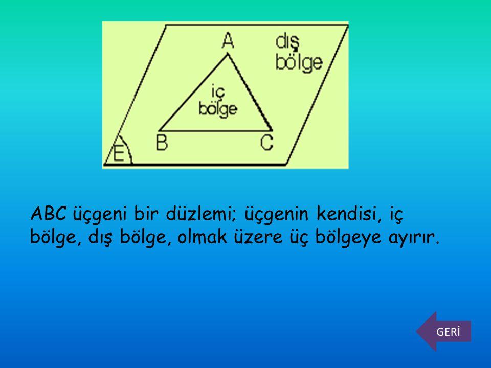 ABC üçgeni bir düzlemi; üçgenin kendisi, iç bölge, dış bölge, olmak üzere üç bölgeye ayırır.