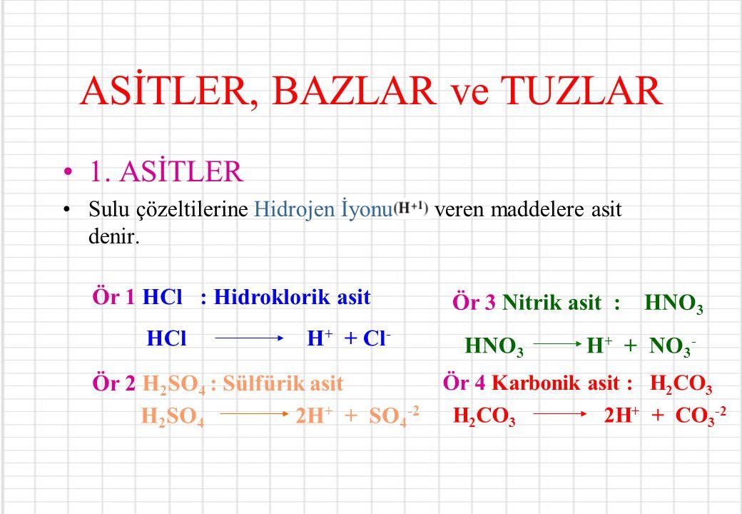 ASİTLER, BAZLAR ve TUZLAR 1. ASİTLER Sulu çözeltilerine Hidrojen İyonu veren maddelere asit denir. Ör 1 HCl : Hidroklorik asit HCl H + + Cl - Ör 2 H 2