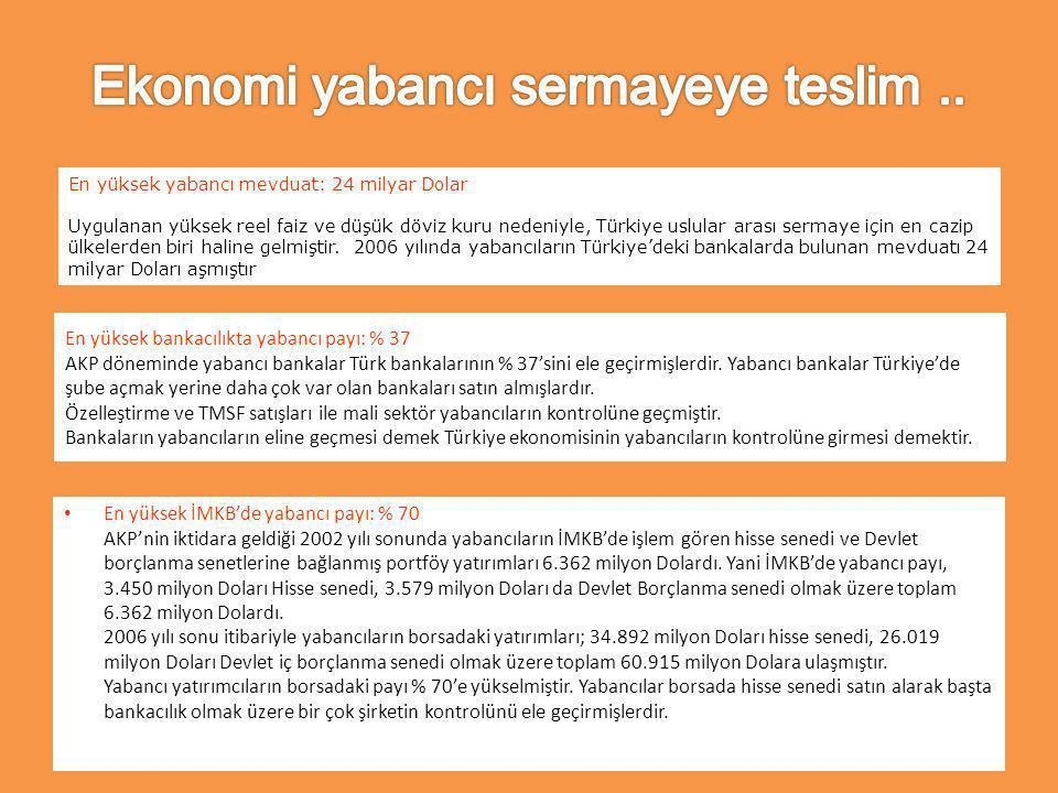 En yüksek bankacılıkta yabancı payı: % 37 AKP döneminde yabancı bankalar Türk bankalarının % 37'sini ele geçirmişlerdir.