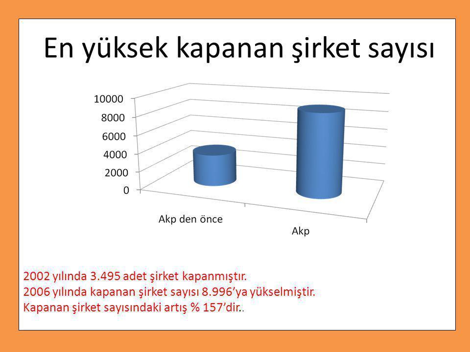 2002 yılında 3.495 adet şirket kapanmıştır.