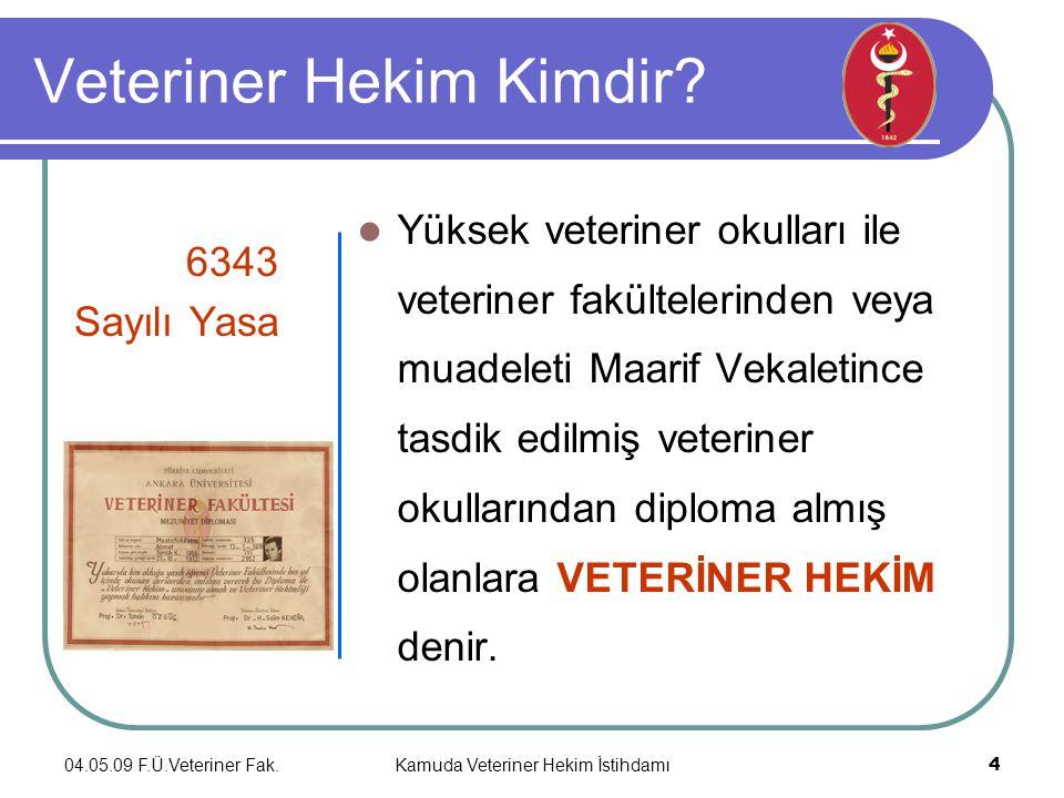 04.05.09 F.Ü.Veteriner Fak.Kamuda Veteriner Hekim İstihdamı 4 Veteriner Hekim Kimdir.