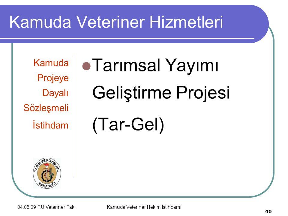 04.05.09 F.Ü.Veteriner Fak.Kamuda Veteriner Hekim İstihdamı 40 Kamuda Veteriner Hizmetleri Kamuda Projeye Dayalı Sözleşmeli İstihdam Tarımsal Yayımı Geliştirme Projesi (Tar-Gel)