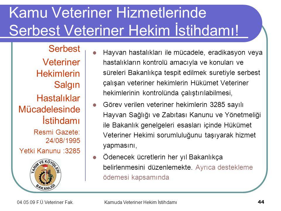 04.05.09 F.Ü.Veteriner Fak.Kamuda Veteriner Hekim İstihdamı 44 Kamu Veteriner Hizmetlerinde Serbest Veteriner Hekim İstihdamı.