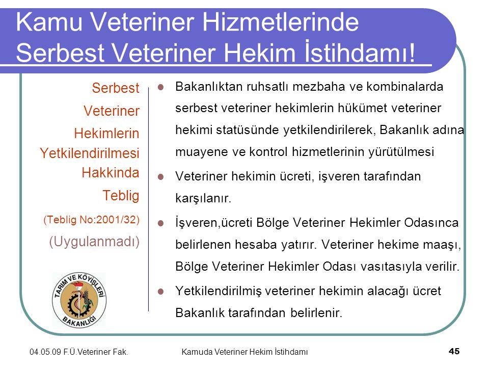04.05.09 F.Ü.Veteriner Fak.Kamuda Veteriner Hekim İstihdamı 45 Kamu Veteriner Hizmetlerinde Serbest Veteriner Hekim İstihdamı.