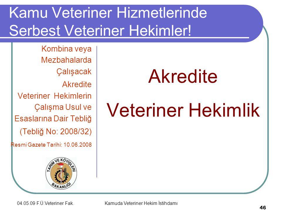 04.05.09 F.Ü.Veteriner Fak.Kamuda Veteriner Hekim İstihdamı 46 Kamu Veteriner Hizmetlerinde Serbest Veteriner Hekimler.