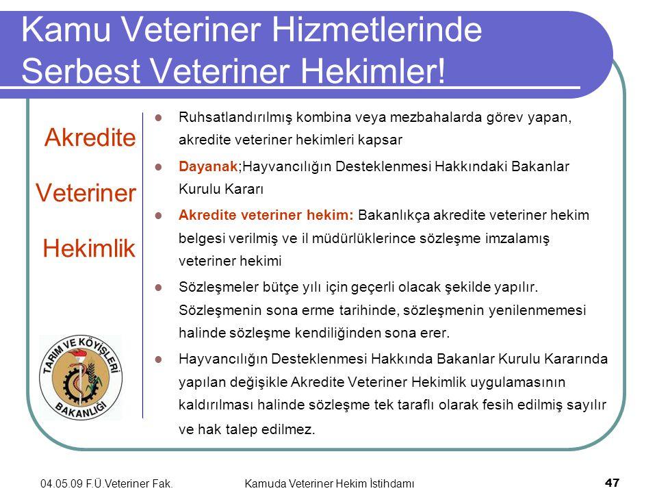 04.05.09 F.Ü.Veteriner Fak.Kamuda Veteriner Hekim İstihdamı 47 Kamu Veteriner Hizmetlerinde Serbest Veteriner Hekimler.