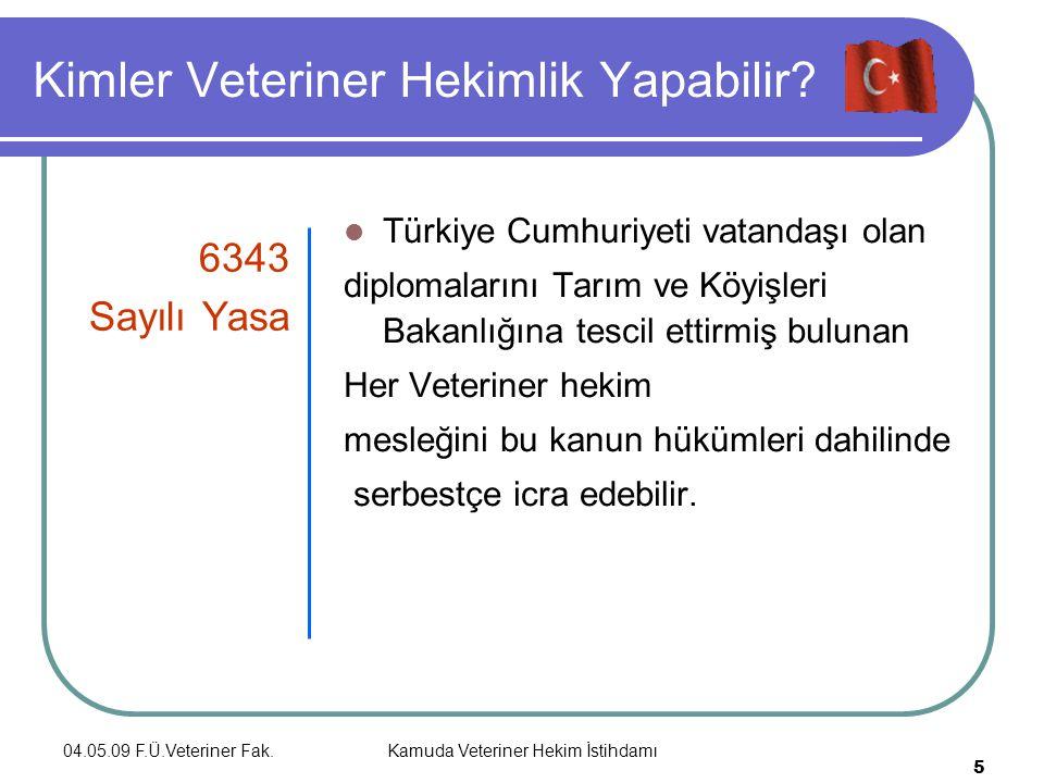 04.05.09 F.Ü.Veteriner Fak.Kamuda Veteriner Hekim İstihdamı 5 Kimler Veteriner Hekimlik Yapabilir.