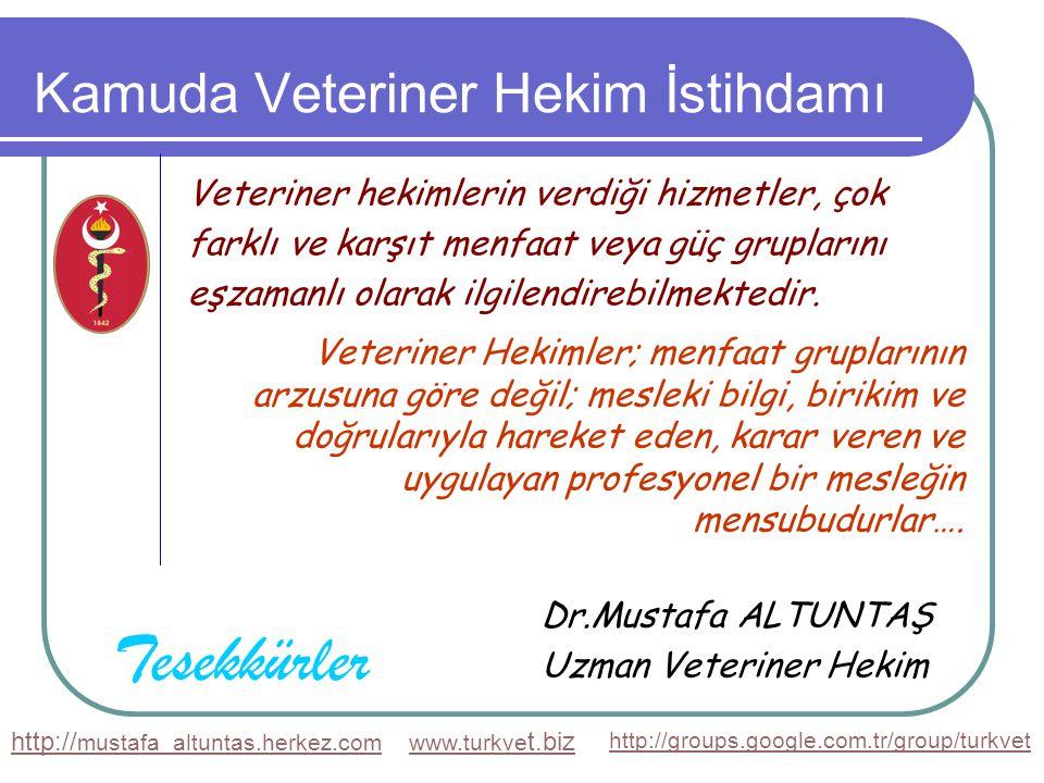 Kamuda Veteriner Hekim İstihdamı Dr.Mustafa ALTUNTAŞ Uzman Veteriner Hekim Veteriner hekimlerin verdiği hizmetler, çok farklı ve karşıt menfaat veya güç gruplarını eşzamanlı olarak ilgilendirebilmektedir.