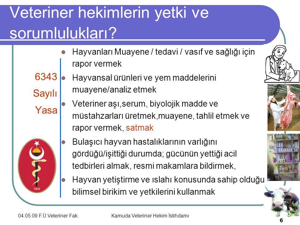 04.05.09 F.Ü.Veteriner Fak.Kamuda Veteriner Hekim İstihdamı 6 Veteriner hekimlerin yetki ve sorumlulukları.