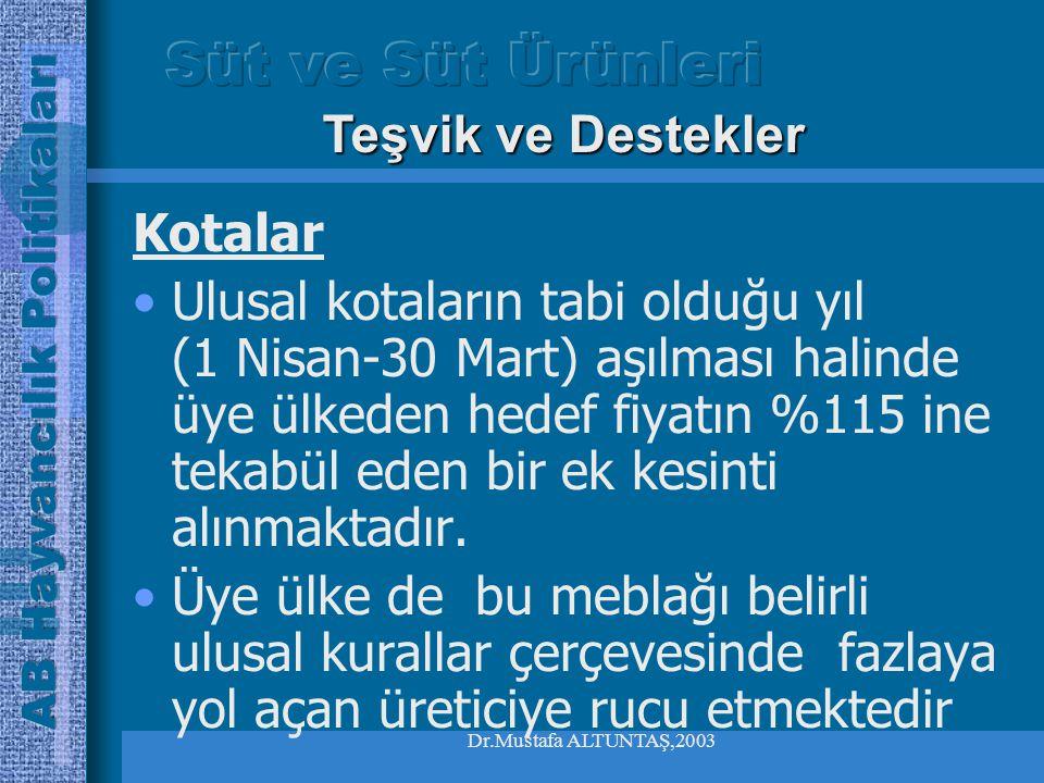 Dr.Mustafa ALTUNTAŞ,2003 Kotalar Yağ içeriğinin baz orandan farklılık göstermesi halinde teslim edilen süt miktarı, 1 kg süt için 0,1 gramda 0.18 katsayısı ile çarpılmaktadır.