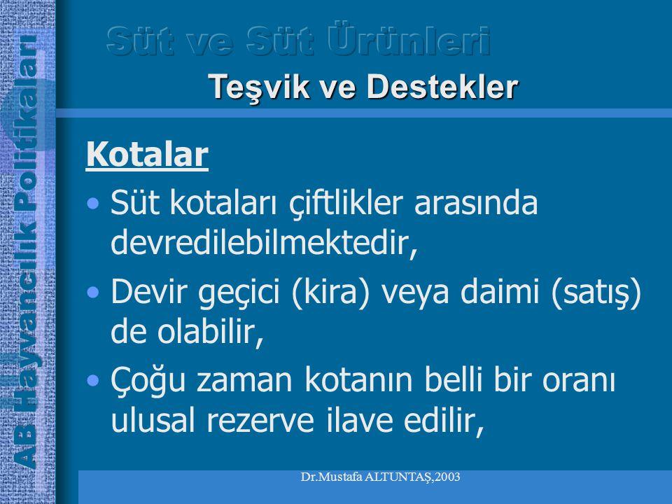 Dr.Mustafa ALTUNTAŞ,2003 Kotalar Üye ülke de bu meblağı belirli ulusal kurallar çerçevesinde fazlaya yol açan üreticiye rucu etmektedir Mevcut kota sistemi 2008 yılına kadar devam edecektir.