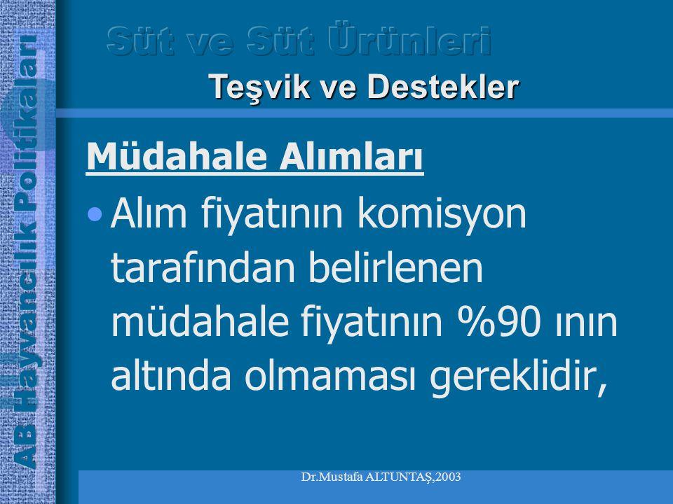 Dr.Mustafa ALTUNTAŞ,2003 Müdahale Alımları Bir veya daha fazla ülkede tereyağı fiyatlarının müdahale fiyatlarının %92 sinin altına düşmesi halinde, müdahale kuruluşları bu ülkede açılan ihale ile süt alımı yapmaktadırlar, Teşvik ve Destekler