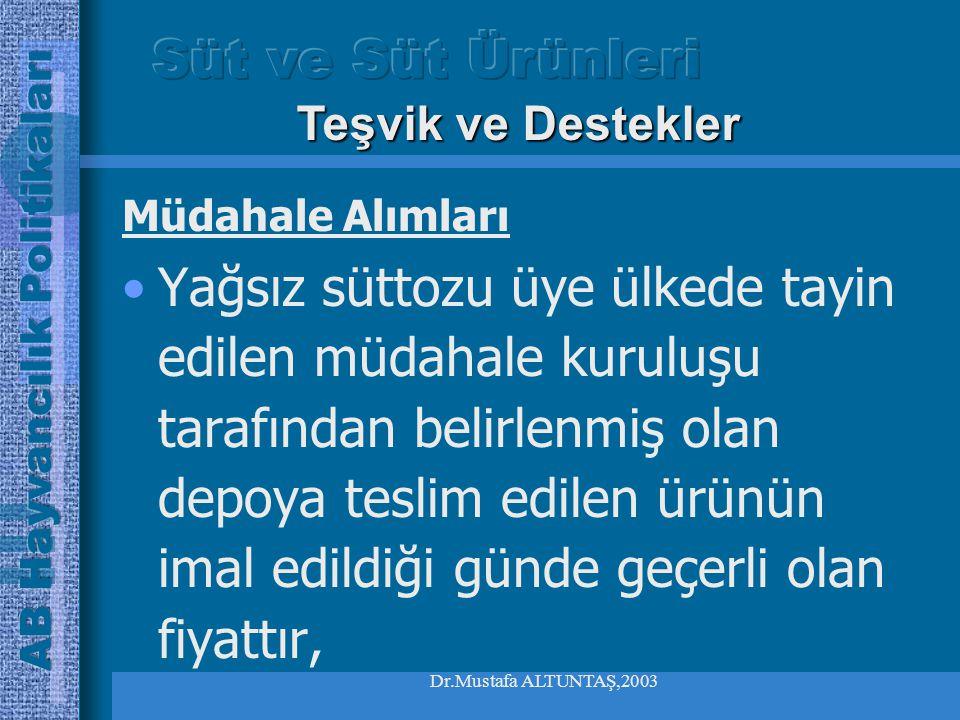 Dr.Mustafa ALTUNTAŞ,2003 Müdahale Alımları Alım fiyatının komisyon tarafından belirlenen müdahale fiyatının %90 ının altında olmaması gereklidir, Teşvik ve Destekler