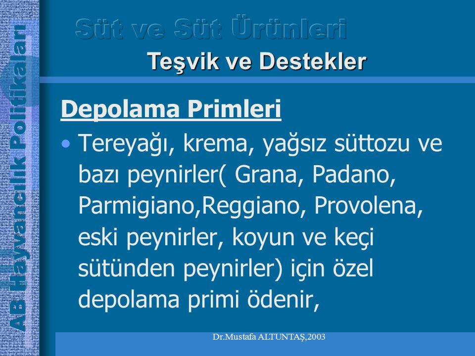 Dr.Mustafa ALTUNTAŞ,2003 Teşvik ve Destekler Müdahale Alımları Her yıl 1 Mart- 31 Ağustos arasında kuruluşa getirilen ürün miktarının 109 tonu geçmesi halinde komisyon, alımları askıya alabilir.