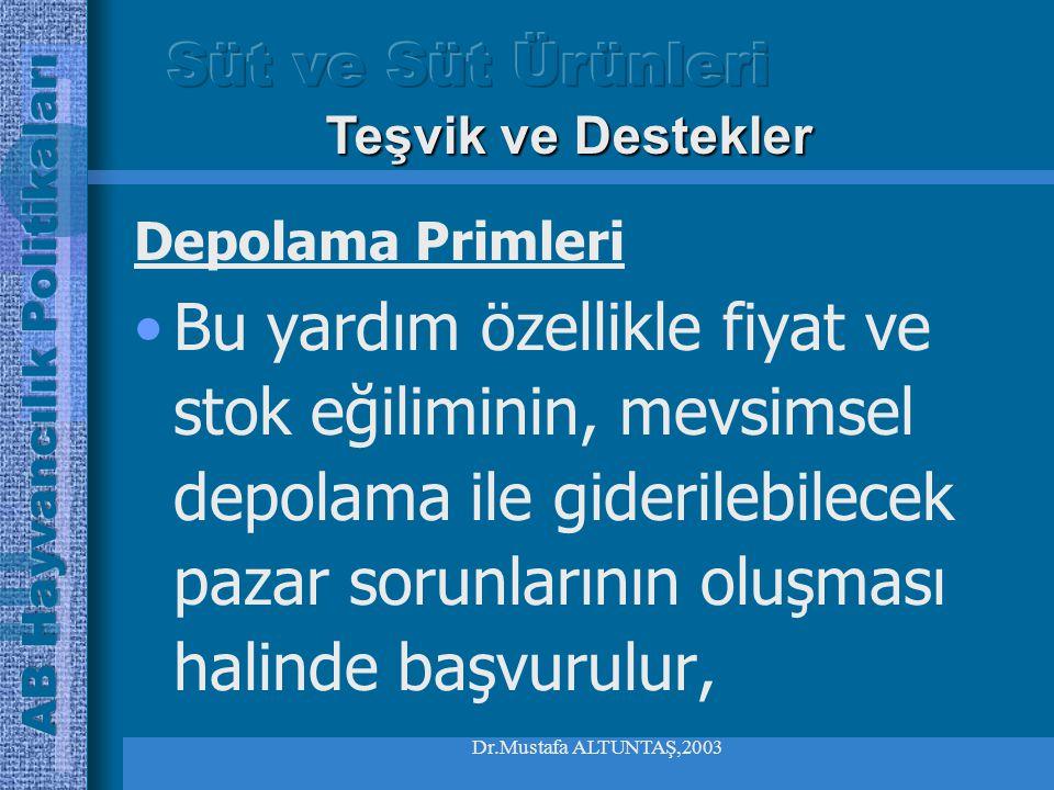 Dr.Mustafa ALTUNTAŞ,2003 Depolama Primleri Depolama masrafı ile piyasa fiyatlarındaki öngörülebilir gelişmeler dikkate alınarak bu yardım belirlenir, Teşvik ve Destekler