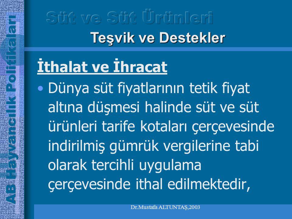 Dr.Mustafa ALTUNTAŞ,2003 İthalat ve İhracat Süt ürünlerinin ithalat ve ihracatı lisansa tabidir, İthalatta ortak gümrük tarifelerinde yer alan ithalat vergileri uygulanır, Teşvik ve Destekler