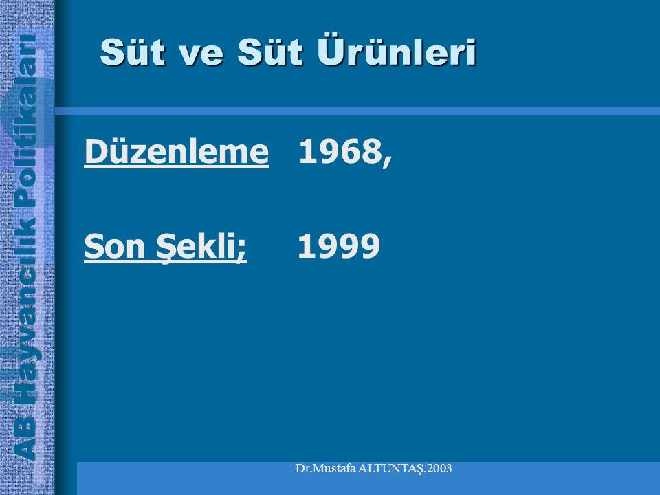 Dr.Mustafa ALTUNTAŞ,2003 Düzenleme 1968, Son Şekli; 1999 Süt ve Süt Ürünleri