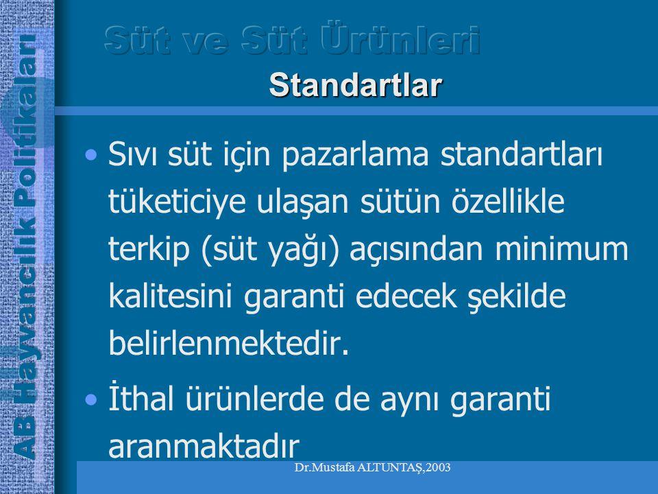Dr.Mustafa ALTUNTAŞ,2003 Sıvı süt için pazarlama standartları tüketiciye ulaşan sütün özellikle terkip (süt yağı) açısından minimum kalitesini garanti edecek şekilde belirlenmektedir.