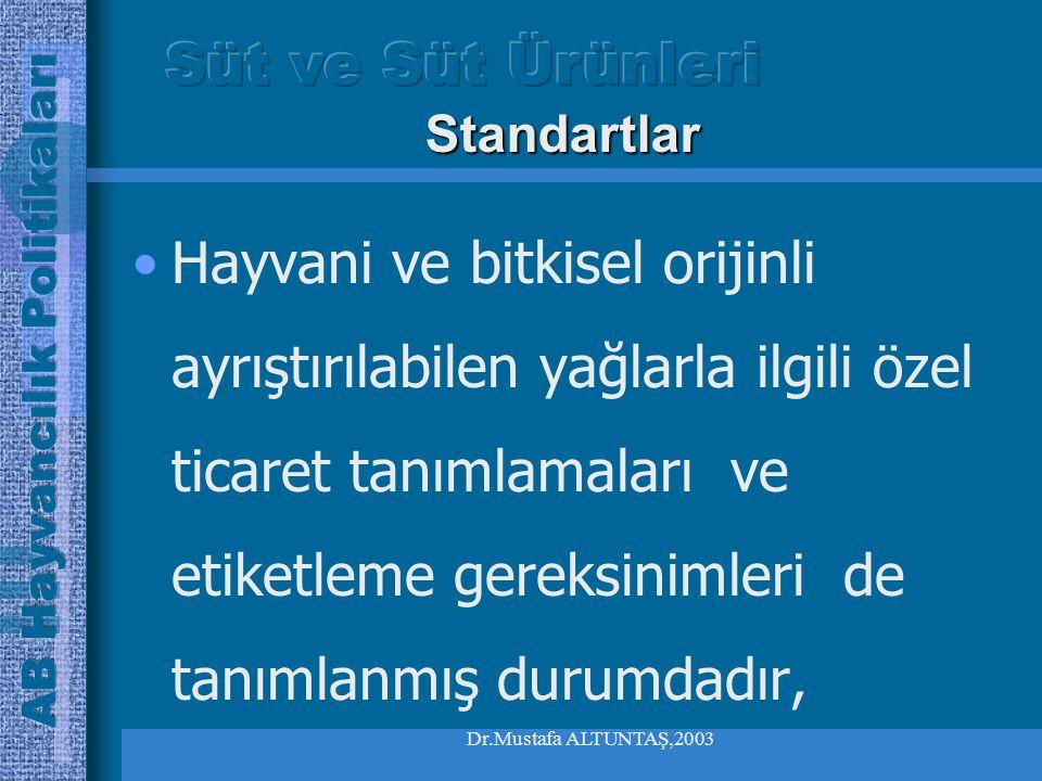 Dr.Mustafa ALTUNTAŞ,2003 Hayvani ve bitkisel orijinli ayrıştırılabilen yağlarla ilgili özel ticaret tanımlamaları ve etiketleme gereksinimleri de tanımlanmış durumdadır, Standartlar