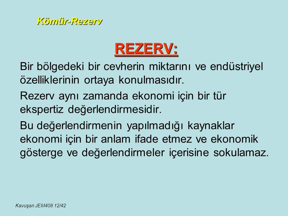 REZERV: Bir bölgedeki bir cevherin miktarını ve endüstriyel özelliklerinin ortaya konulmasıdır. Rezerv aynı zamanda ekonomi için bir tür ekspertiz değ