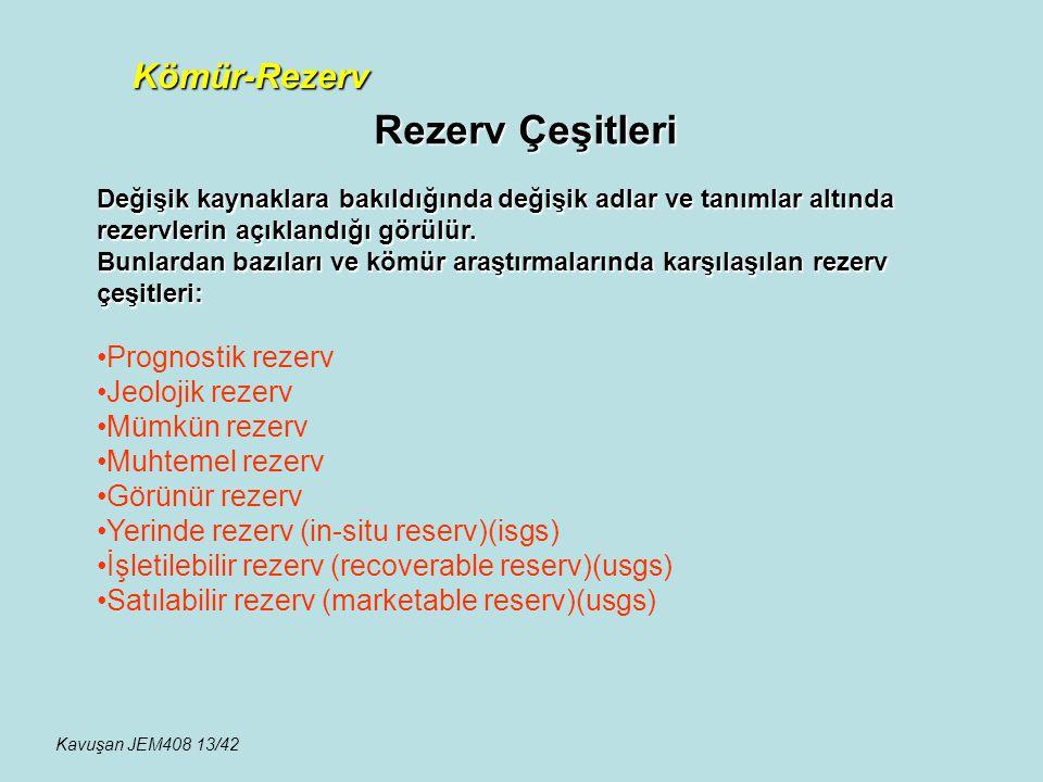 Rezerv Çeşitleri Kömür-Rezerv Değişik kaynaklara bakıldığında değişik adlar ve tanımlar altında rezervlerin açıklandığı görülür. Bunlardan bazıları ve