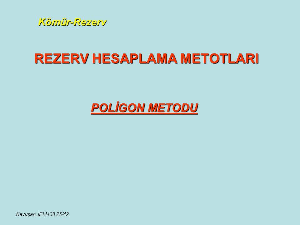 Kömür-Rezerv REZERV HESAPLAMA METOTLARI POLİGON METODU Kavuşan JEM408 25/42