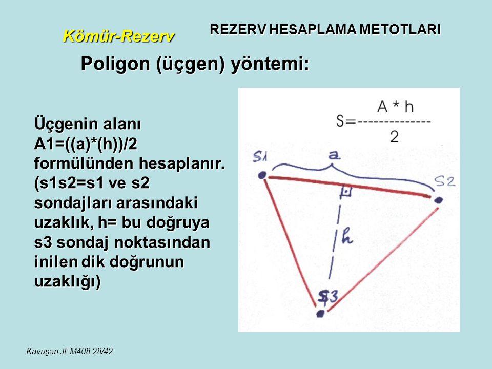 REZERV HESAPLAMA METOTLARI Kömür-Rezerv Poligon (üçgen) yöntemi: Üçgenin alanı A1=((a)*(h))/2 formülünden hesaplanır. (s1s2=s1 ve s2 sondajları arasın