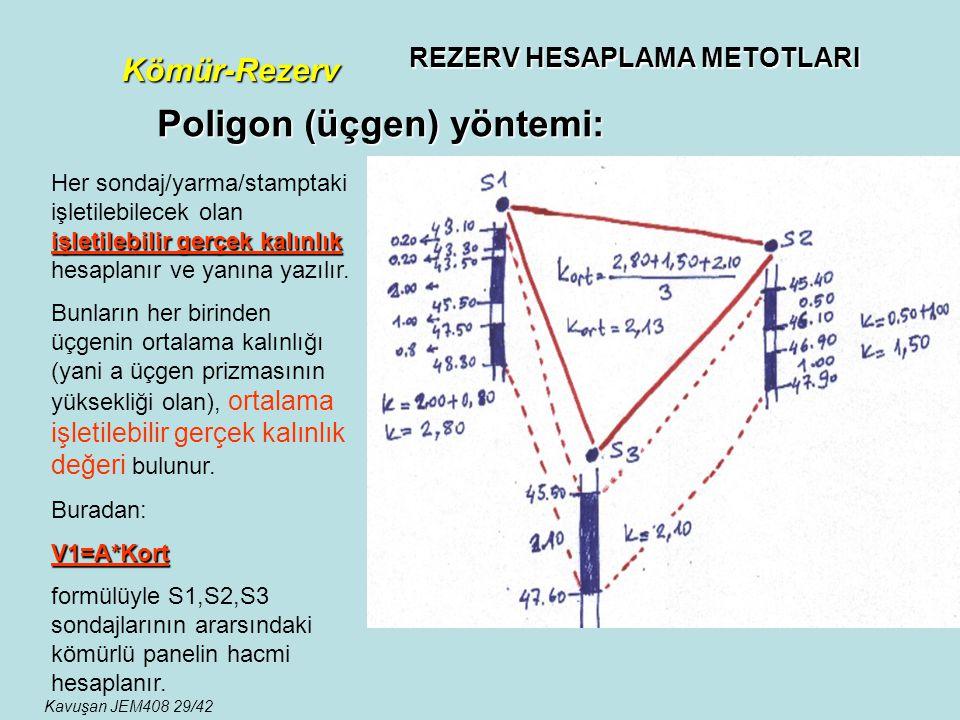 REZERV HESAPLAMA METOTLARI Kömür-Rezerv Poligon (üçgen) yöntemi: işletilebilir gerçek kalınlık Her sondaj/yarma/stamptaki işletilebilecek olan işletil