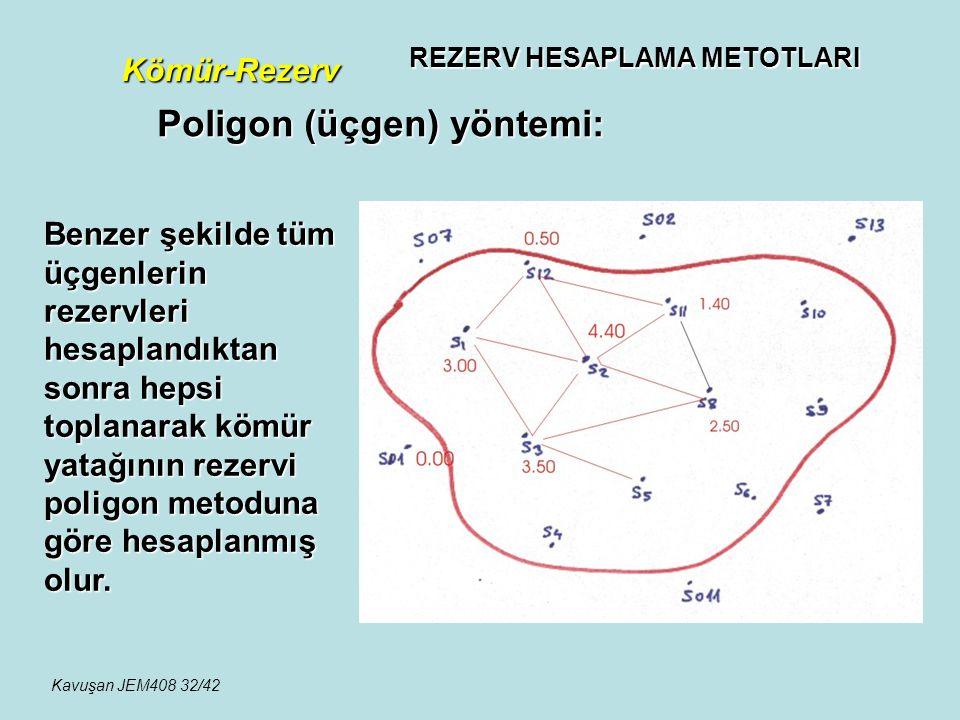 REZERV HESAPLAMA METOTLARI Kömür-Rezerv Poligon (üçgen) yöntemi: Benzer şekilde tüm üçgenlerin rezervleri hesaplandıktan sonra hepsi toplanarak kömür