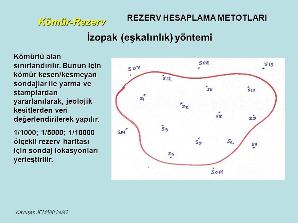 REZERV HESAPLAMA METOTLARI Kömür-Rezerv İzopak (eşkalınlık) yöntemi Kömürlü alan sınırlandırılır. Bunun için kömür kesen/kesmeyan sondajlar ile yarma