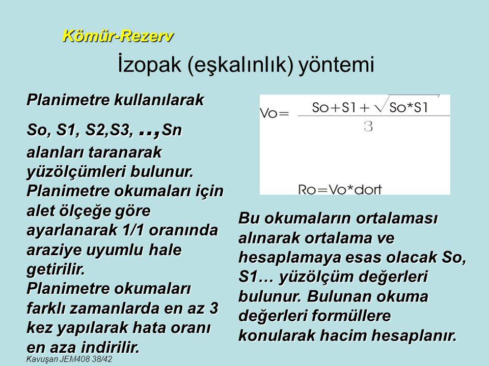 İzopak (eşkalınlık) yöntemi Kömür-Rezerv Planimetre kullanılarak So, S1, S2,S3,.., Sn alanları taranarak yüzölçümleri bulunur. Planimetre okumaları iç