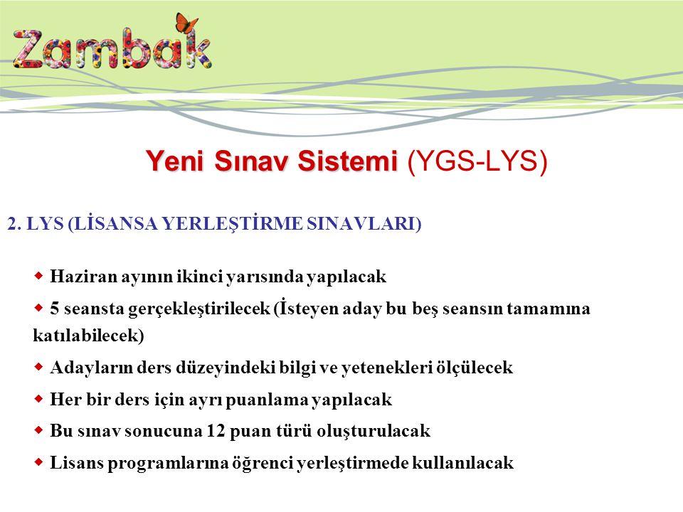 Yeni Sınav Sistemi Yeni Sınav Sistemi (YGS-LYS) 2. LYS (LİSANSA YERLEŞTİRME SINAVLARI)  Haziran ayının ikinci yarısında yapılacak  5 seansta gerçekl