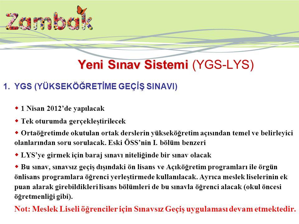 Yeni Sınav Sistemi Yeni Sınav Sistemi (YGS-LYS) 1.YGS (YÜKSEKÖĞRETİME GEÇİŞ SINAVI)  1 Nisan 2012'de yapılacak  Tek oturumda gerçekleştirilecek  Ortaöğretimde okutulan ortak derslerin yükseköğretim açısından temel ve belirleyici olanlarından soru sorulacak.