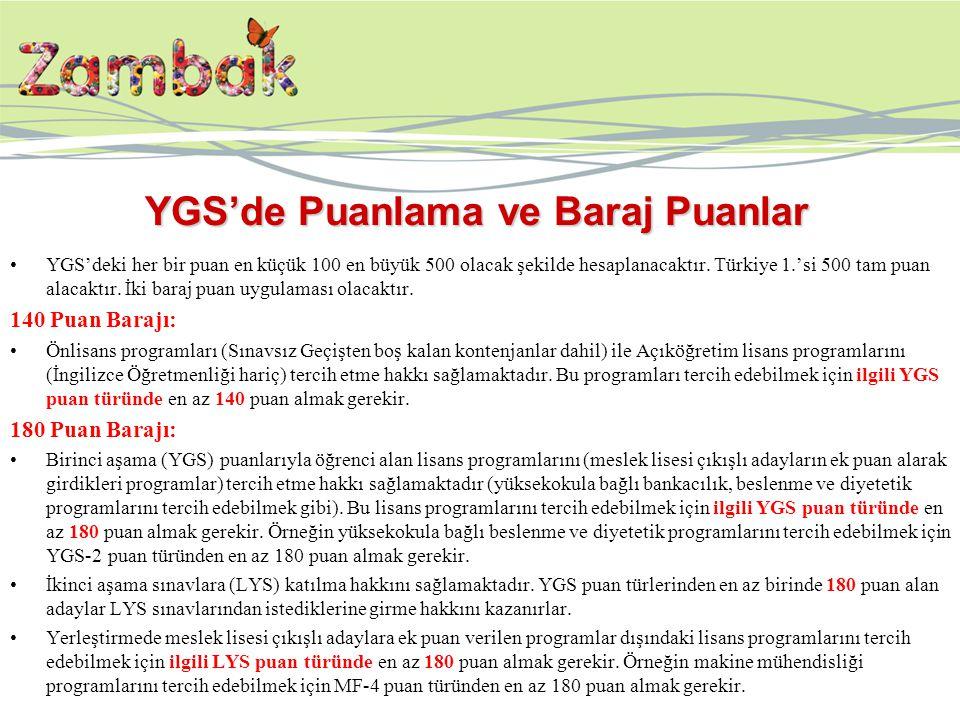 YGS'de Puanlama ve Baraj Puanlar YGS'deki her bir puan en küçük 100 en büyük 500 olacak şekilde hesaplanacaktır. Türkiye 1.'si 500 tam puan alacaktır.