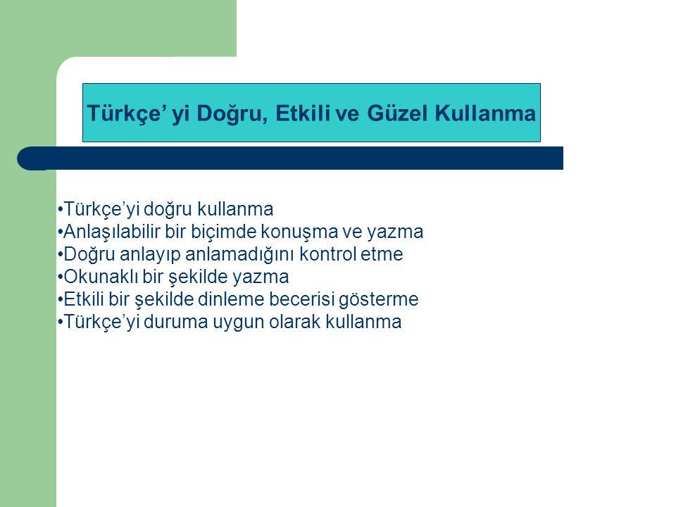 Türkçe'yi doğru kullanma Anlaşılabilir bir biçimde konuşma ve yazma Doğru anlayıp anlamadığını kontrol etme Okunaklı bir şekilde yazma Etkili bir şeki