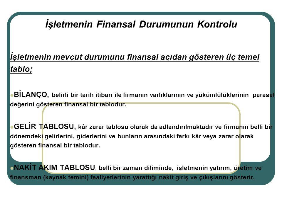 İşletmenin Finansal Durumunun Kontrolu İşletmenin mevcut durumunu finansal açıdan gösteren üç temel tablo; BİLANÇO, belirli bir tarih itibarı ile firm