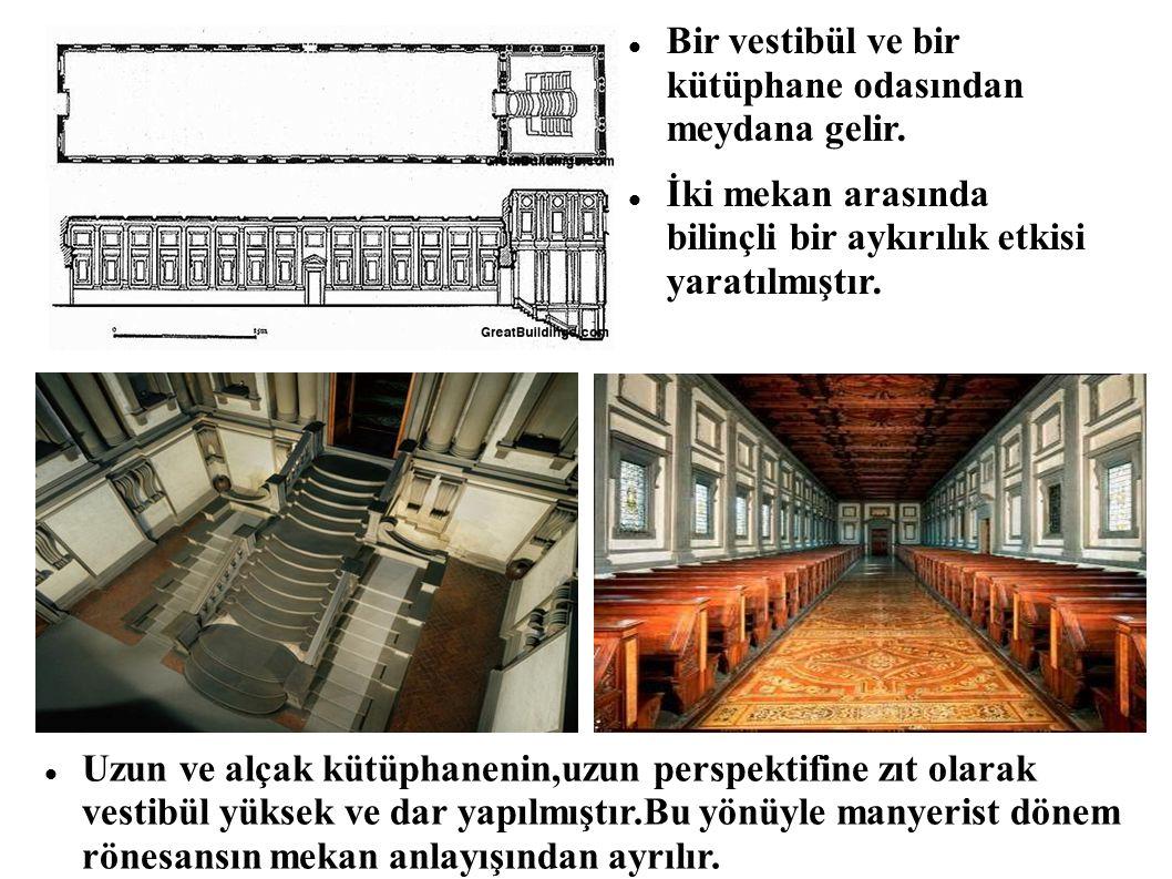 Bir vestibül ve bir kütüphane odasından meydana gelir. İki mekan arasında bilinçli bir aykırılık etkisi yaratılmıştır. Uzun ve alçak kütüphanenin,uzun