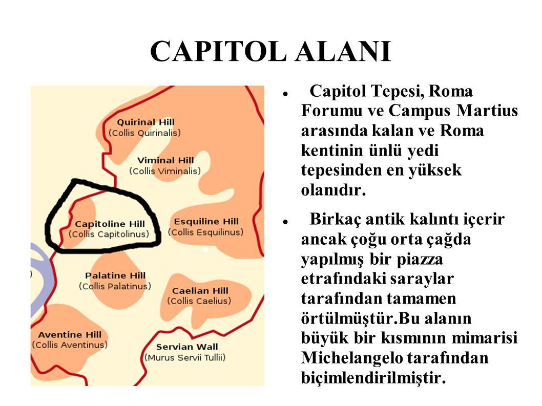 CAPITOL ALANI Capitol Tepesi, Roma Forumu ve Campus Martius arasında kalan ve Roma kentinin ünlü yedi tepesinden en yüksek olanıdır. Birkaç antik kalı