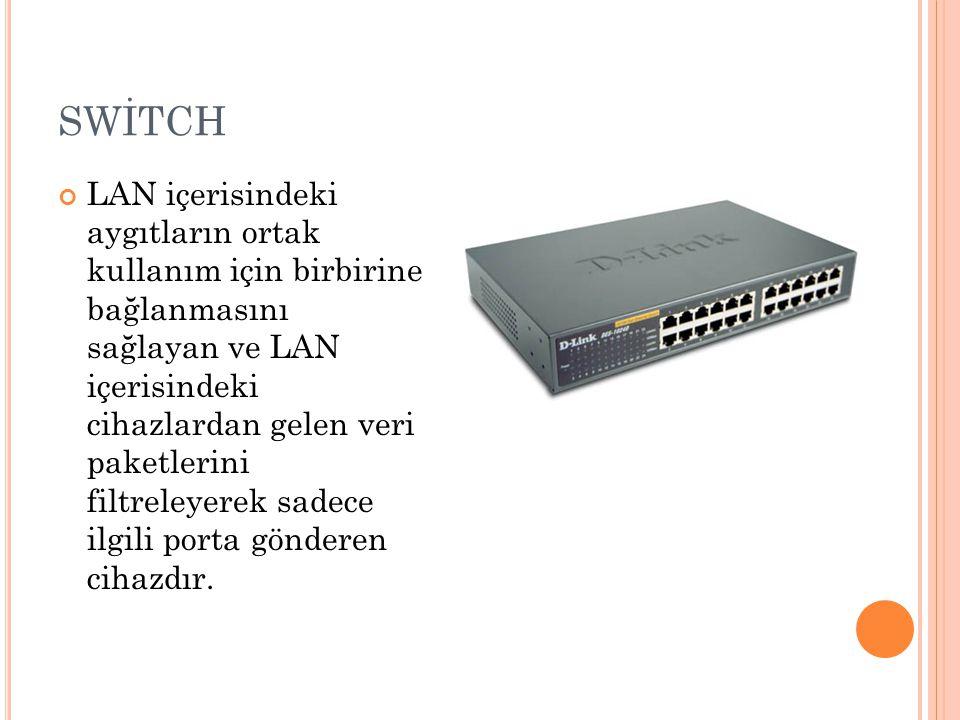 SWİTCH LAN içerisindeki aygıtların ortak kullanım için birbirine bağlanmasını sağlayan ve LAN içerisindeki cihazlardan gelen veri paketlerini filtreleyerek sadece ilgili porta gönderen cihazdır.