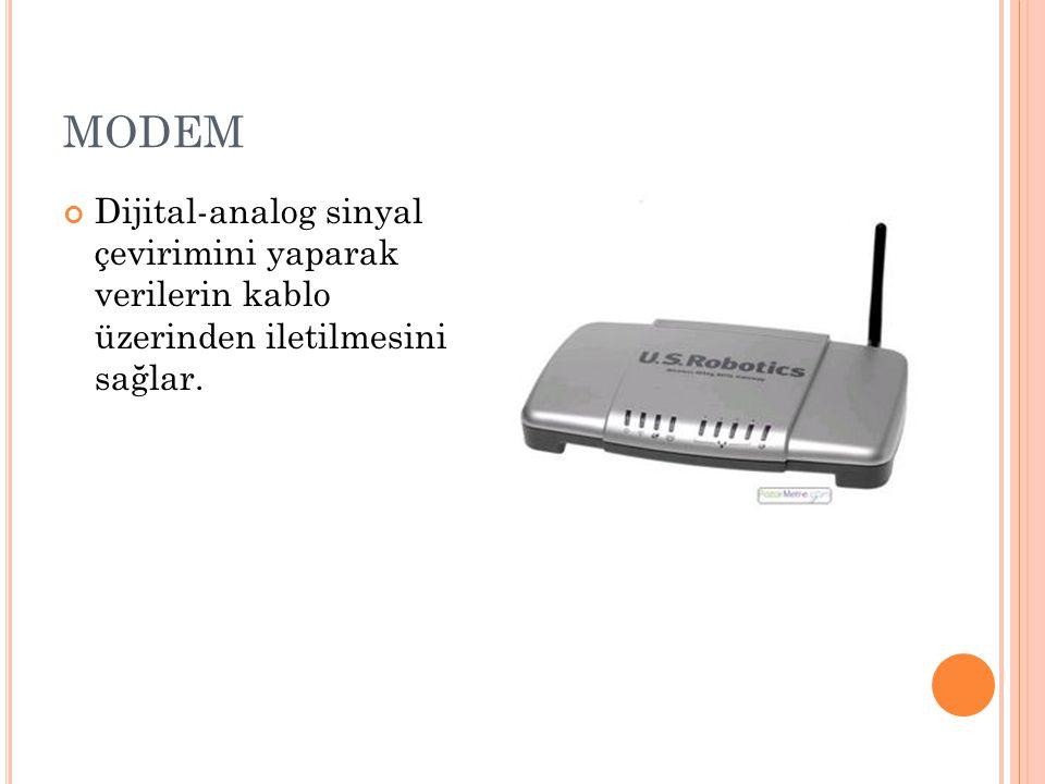 MODEM Dijital-analog sinyal çevirimini yaparak verilerin kablo üzerinden iletilmesini sağlar.