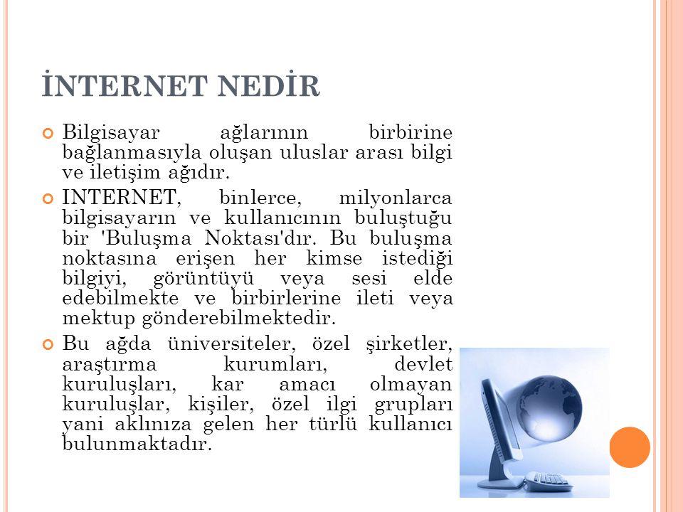 İNTERNET NEDİR Bilgisayar ağlarının birbirine bağlanmasıyla oluşan uluslar arası bilgi ve iletişim ağıdır.